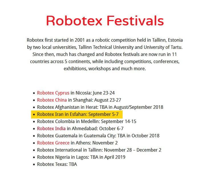 robotex iran, sadra robotic, robotex festival